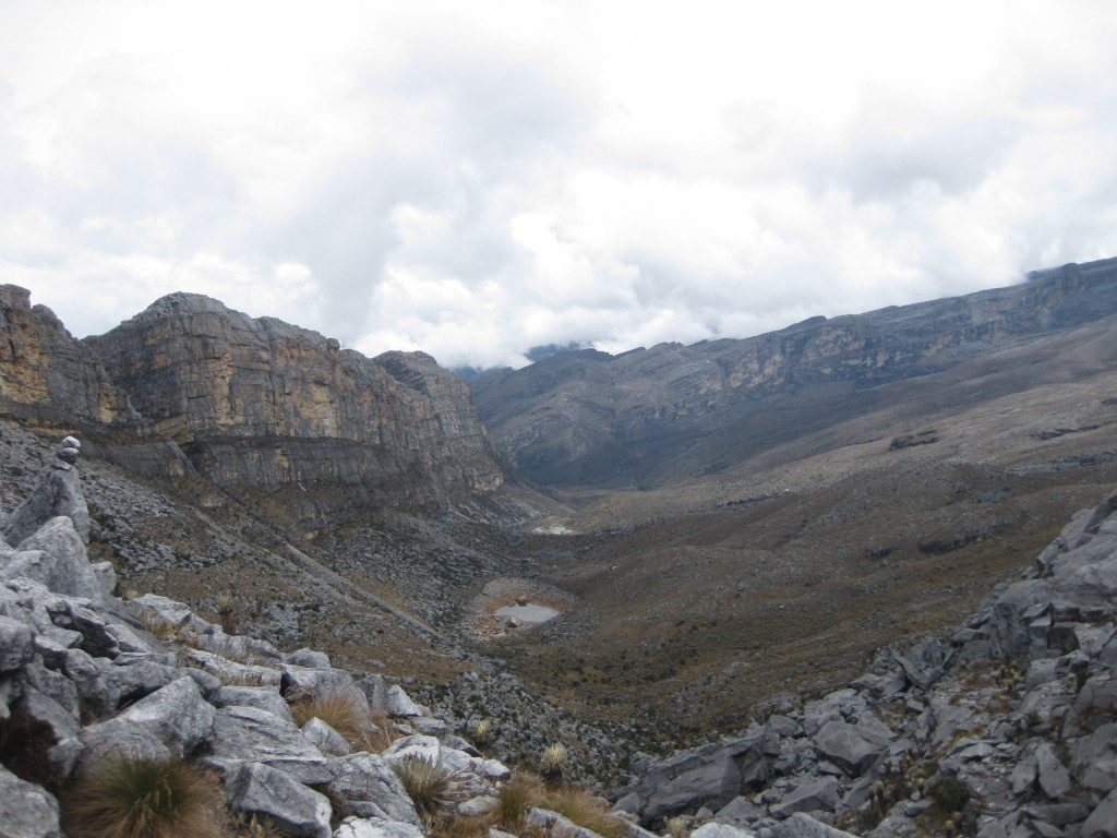 Im Nationalpark El Cocuy. Die vorherrschende, tropische Vegetationsform wird Páramo genannt und ist typisch für die Anden