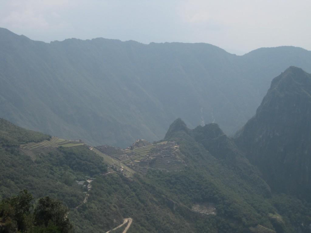 Blick auf die Inkastadt Machu Picchu, Peru, vom Sonnentor aus