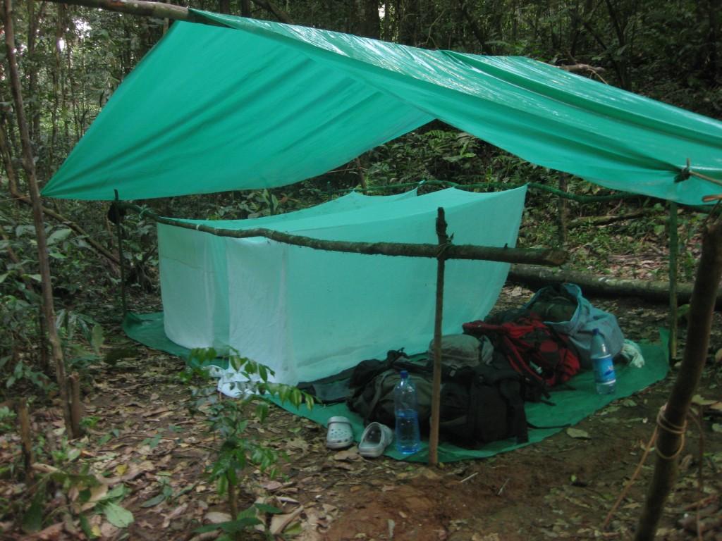 Bei unserer mehrtägigen Tour durch den Dschungel Boliviens (bei Rurrenabaque - Nationalpark Madidi) haben unsere beiden Guides die Moskitonetze gestellt