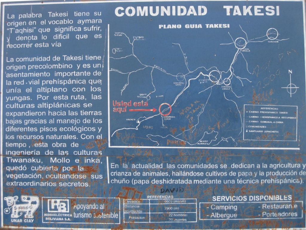 Es gibt zwar Karten, Wegweiser und Informationstafeln wie diese. Aber man sollte sich auch eigenes Informationsmaterial mitbringen