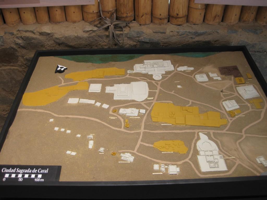 Übersichts-Modell der Heiligen Stadt von Caral