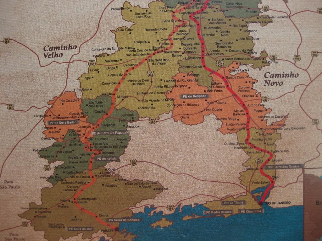 Karte der Estrada Real. Nördlicher Endpunkt die Stadt Diamantina, im Süden Paraty (alter Route) und Rio de Janeiro (neue Route)