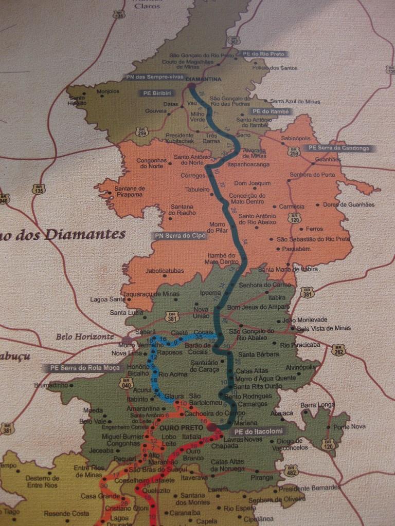 Karte Estrada Real - königliche Straße - Brasilien - Minas Gerais (2)