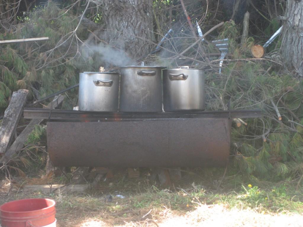 Auf dem Brauchtumsfest in Guabún gab's das Curanto aus großen Töpfen