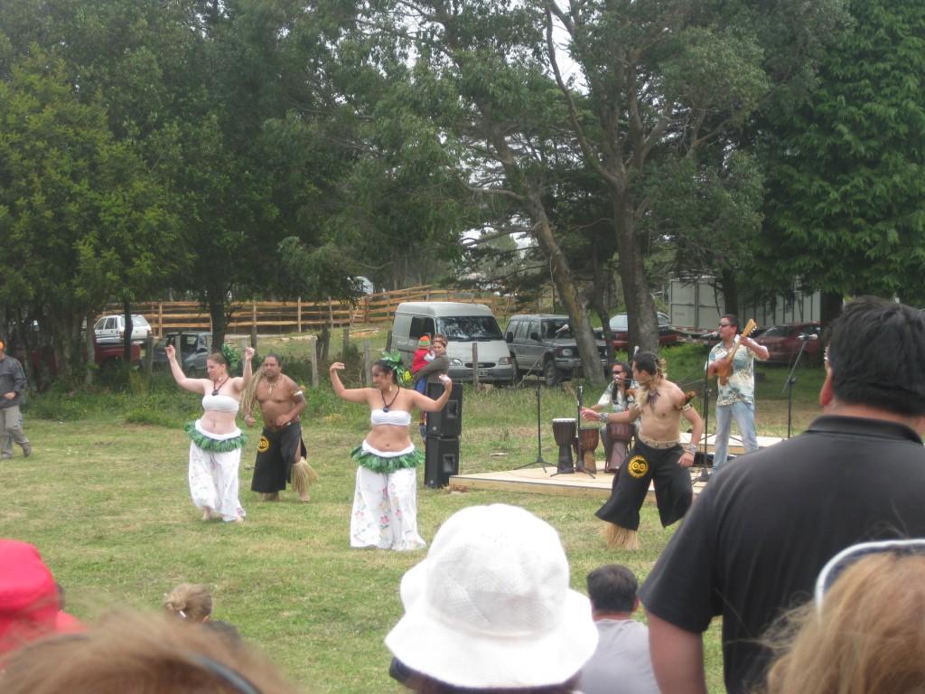 Auf dem Brauchtumsfest in Guabún. Diese Gruppe ist von den Osterinseln angereist.