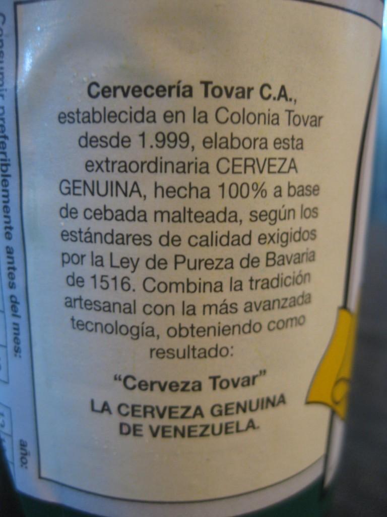 Informationen zur Cervecería Tovar und Info, dass nach dem deutschen Reinheitsgebot von 1516 gebraut wird.