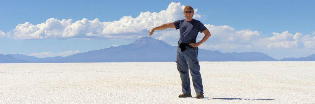 Flo in der Salzwüste Salar de Uyuni in seinem südamerikanischen Lieblingsland Bolivien. © flocblog